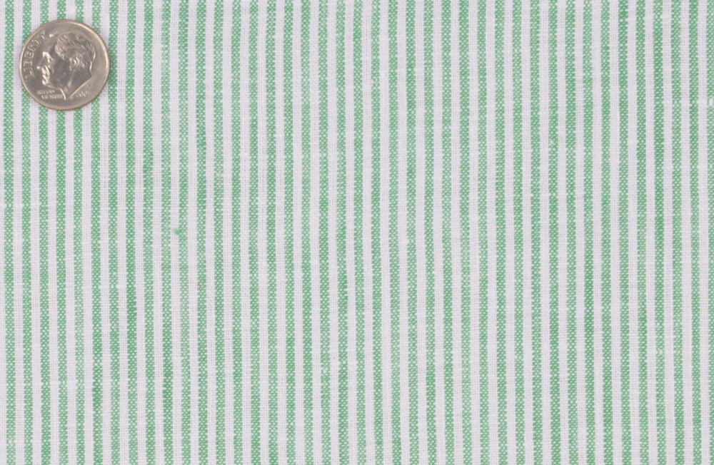 Green Dress Stripes Linen