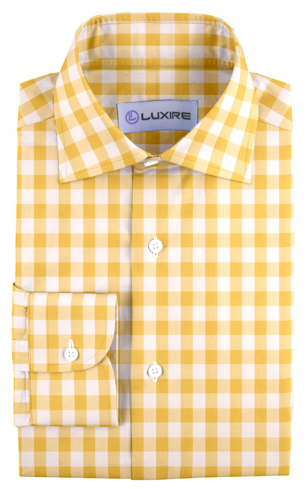 Golden Yellow Windowpane Checks On White