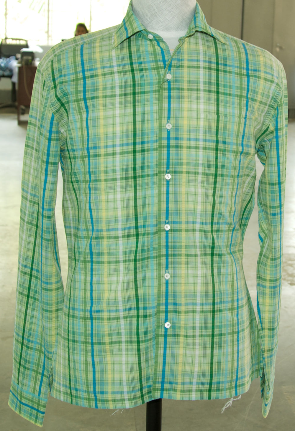 Blue Green Yellow Madras Seersucker