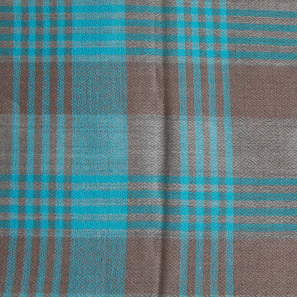 Pure Cashmere Scarf - Blue Grey Plaid