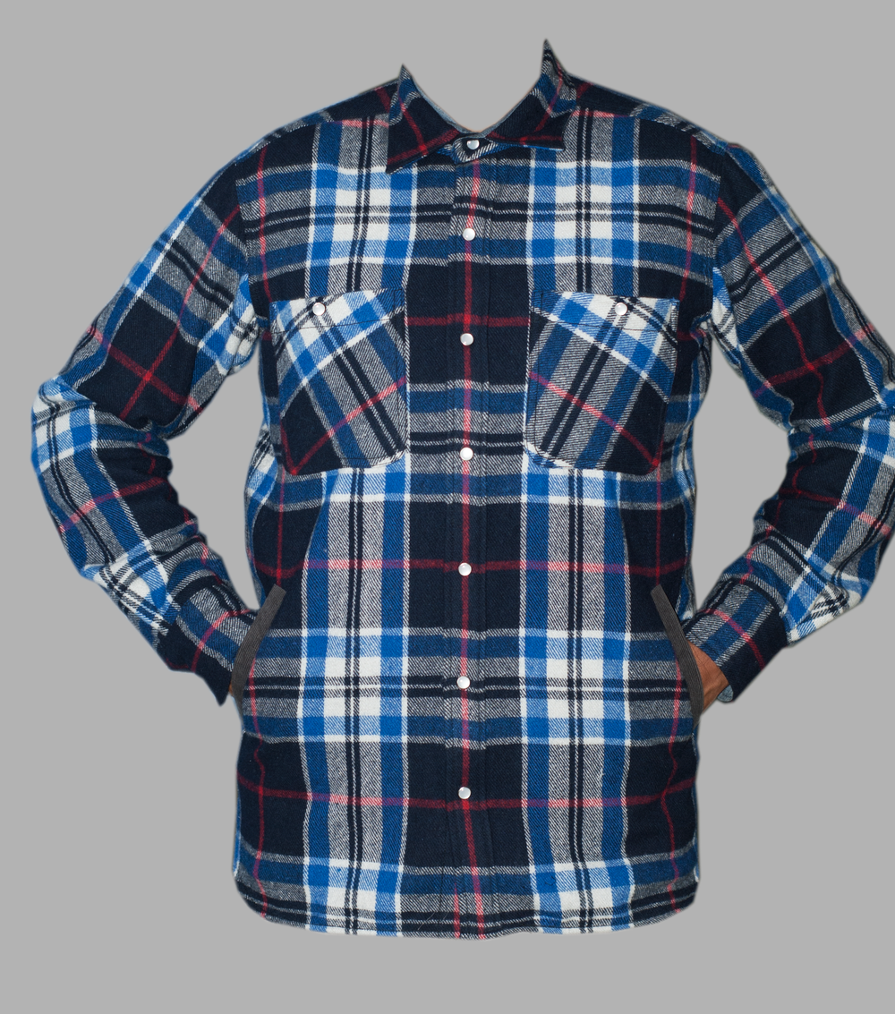 Blue Wool Plaid Shirt