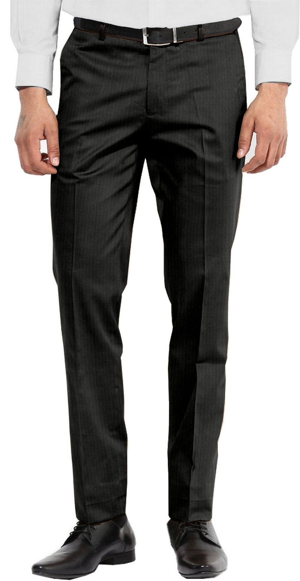 Dugdale Fine Worsted  - Charcoal Self-Stripe Pant