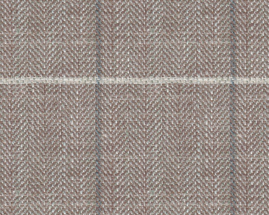 Dugdale Cascade Linen-Silk: Stone Herringbone with Grey and White Check