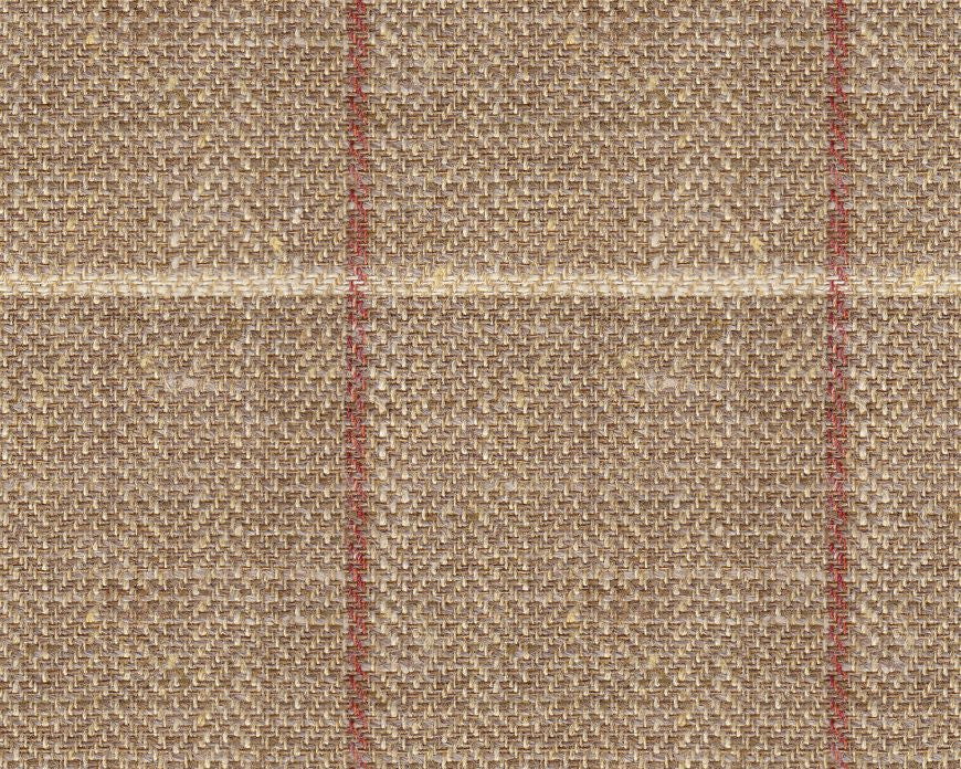 Dugdale Cascade Linen-Silk: Sand Herringbone with Beige and Red Check