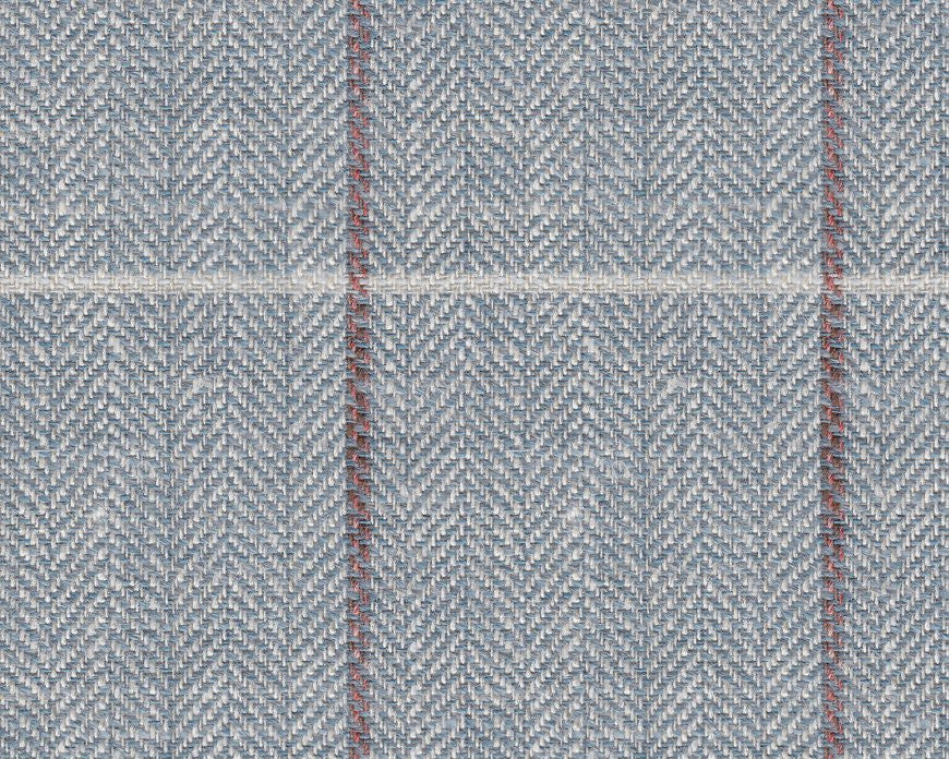 Dugdale Cascade Linen-Silk: Duck Egg Blue with Brown and White Check
