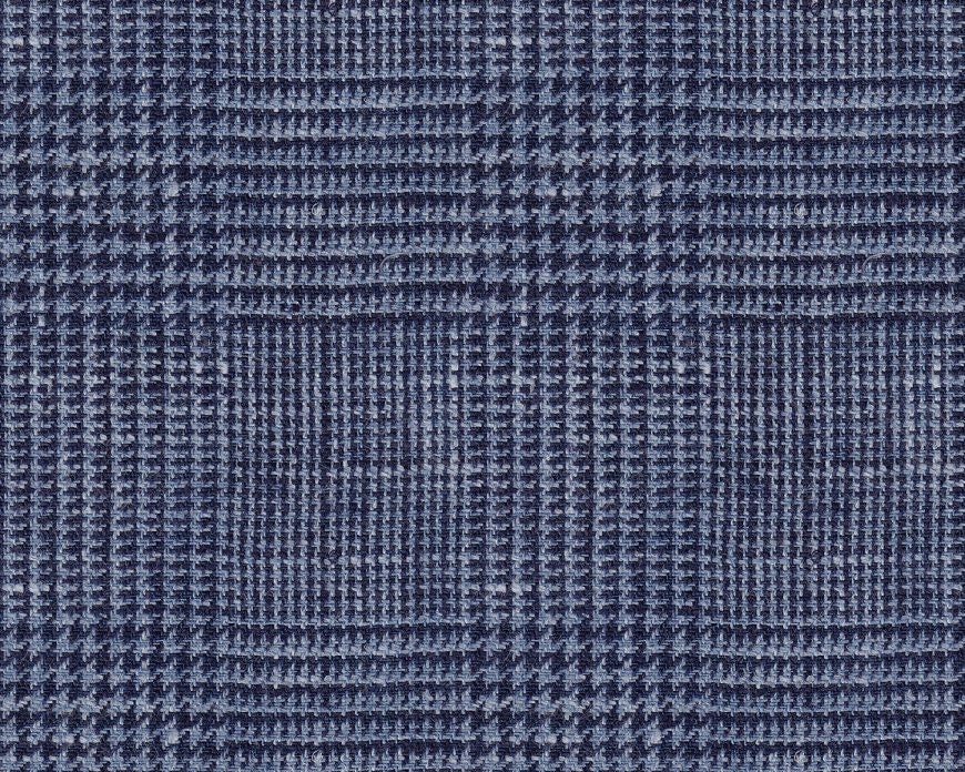 Dugdale Cascade Linen-Silk: Navy Blue Glen Check