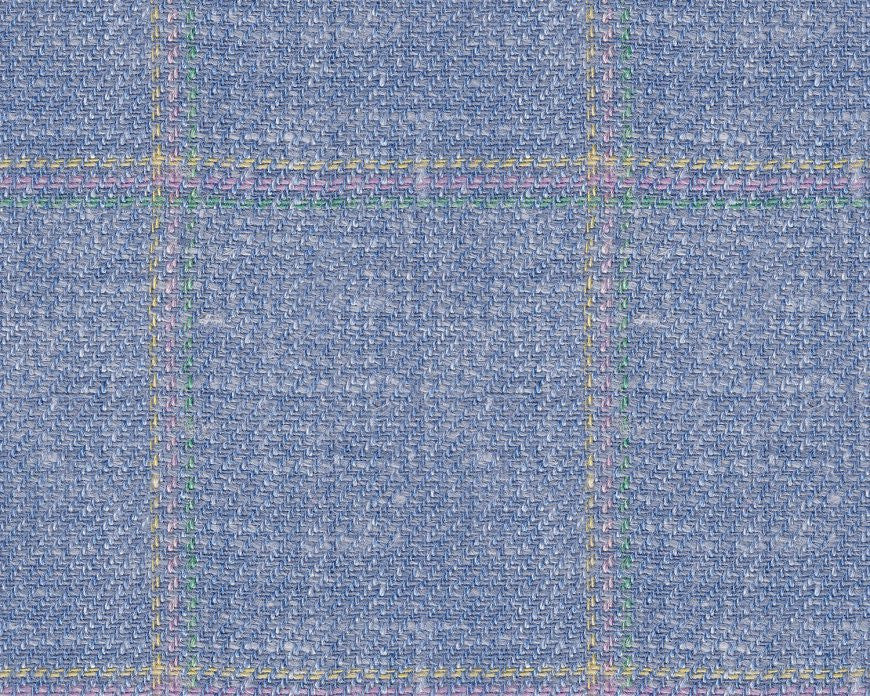 Dugdale Cascade Linen-Silk: Light Blue with Green, Lilac, Yellow Triple Check