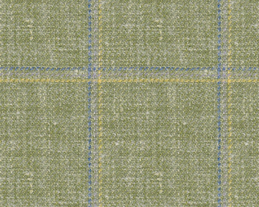 Dugdale Cascade Linen-Silk: Green with Blue, Grey, Yellow Triple Check
