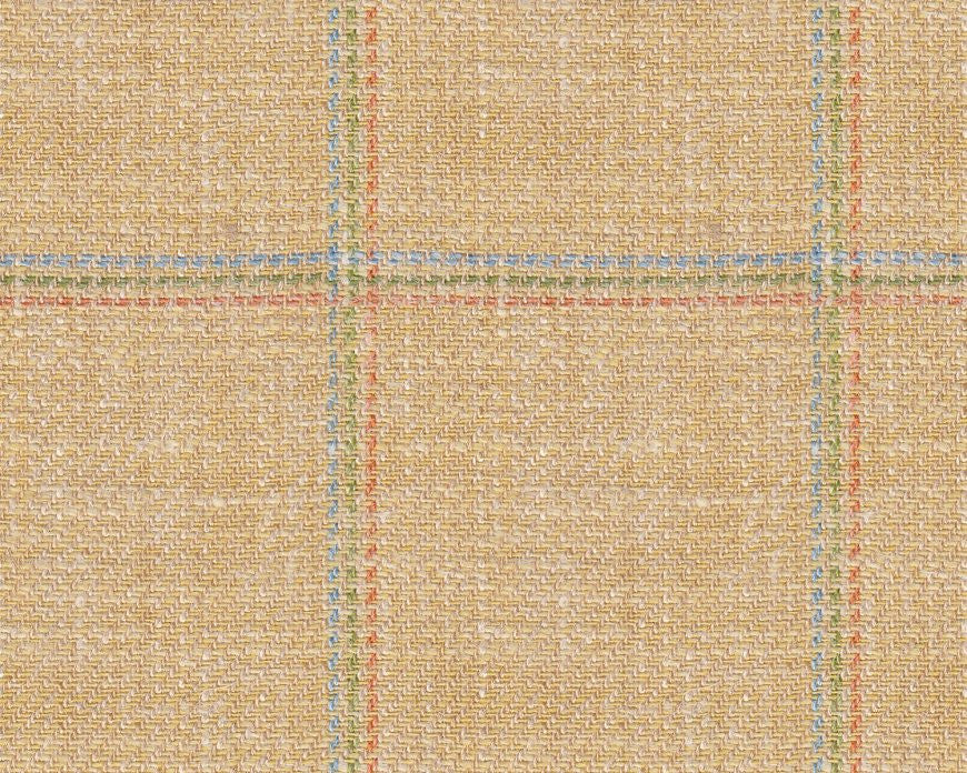 Dugdale Cascade Linen-Silk Jacket: Sand with Orange, Green, Blue Triple Check