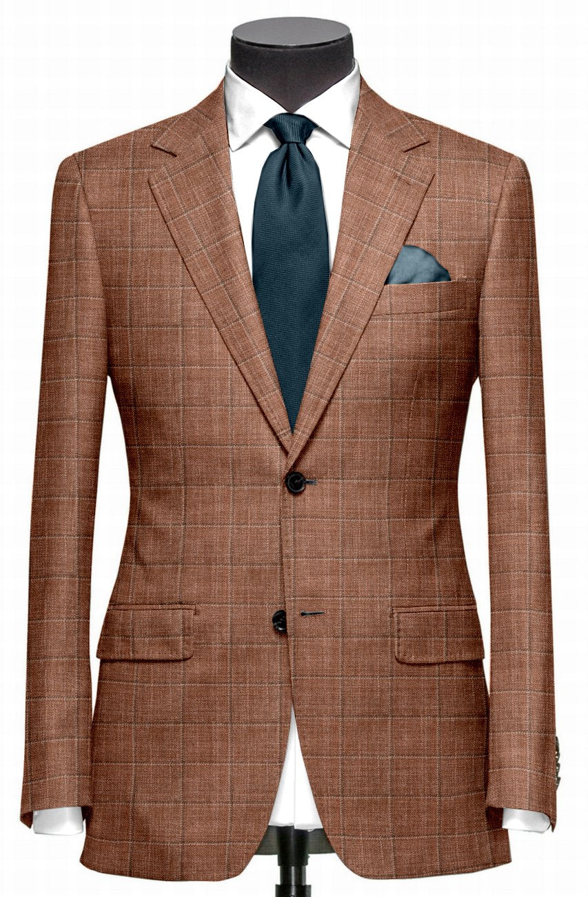 Ethomas Brick Brown White Checks Jacket
