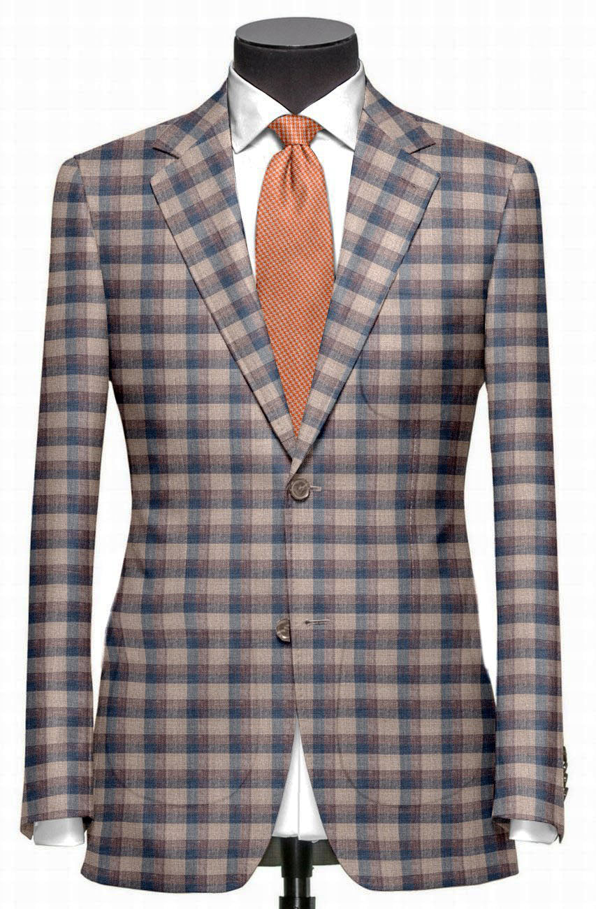 EThomas Light Peach Blue Voilet Checks  Jacket