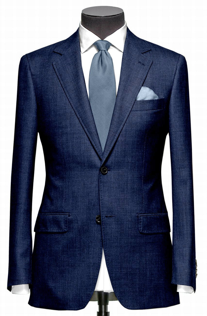 EThomas Wool Cashmere: Blue Twill Jacket