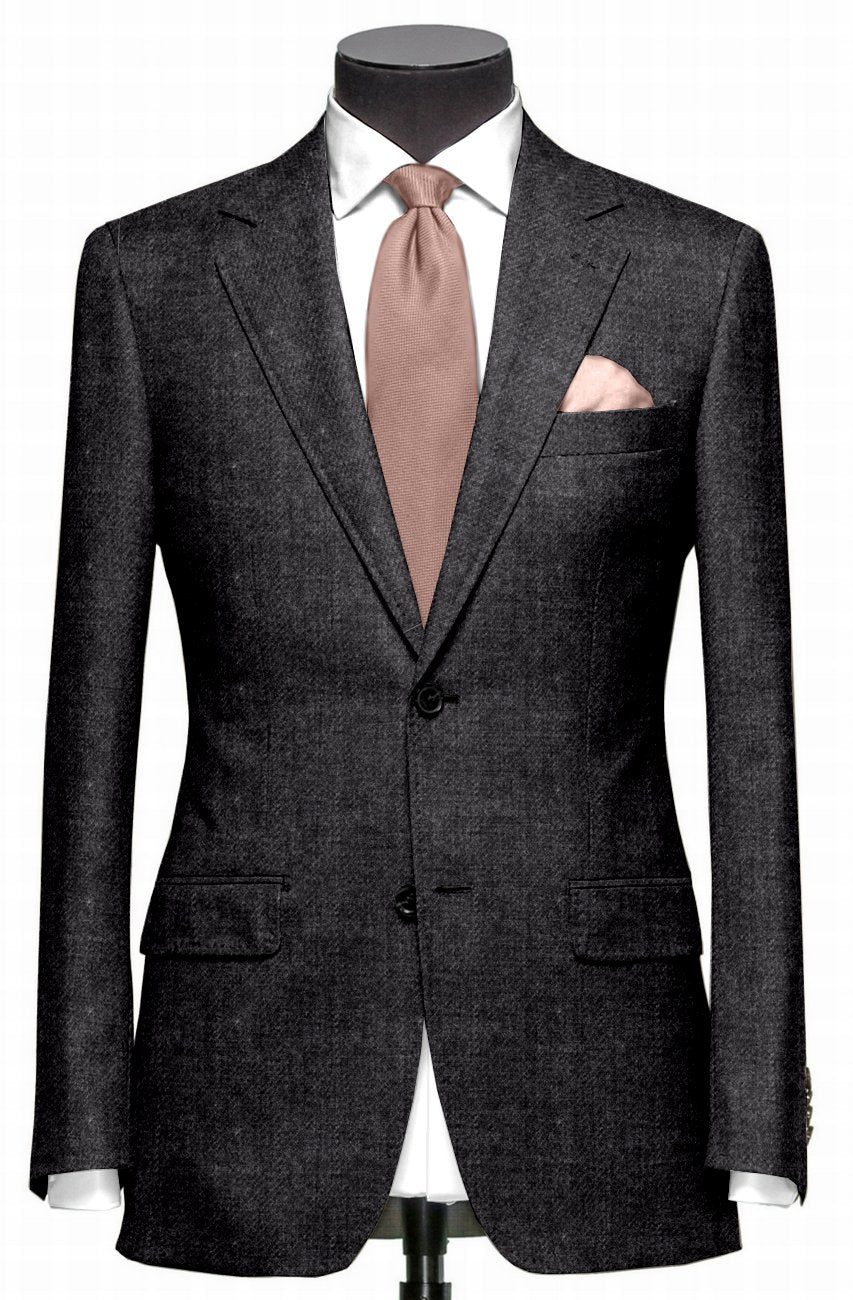 EThomas Wool Cashmere: Dark Grey Twill Jacket