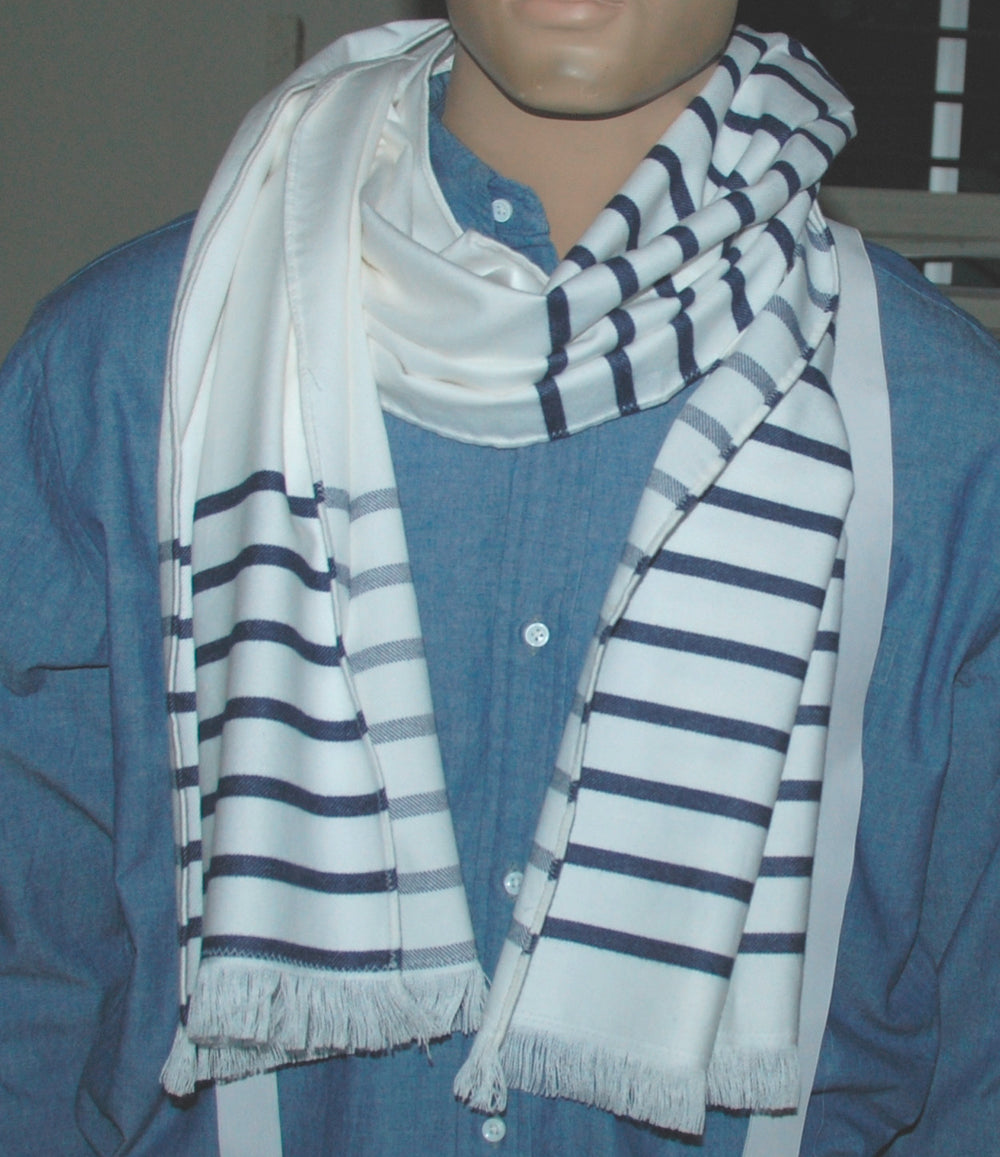 Flannel Scarf - Navy Stripes on White