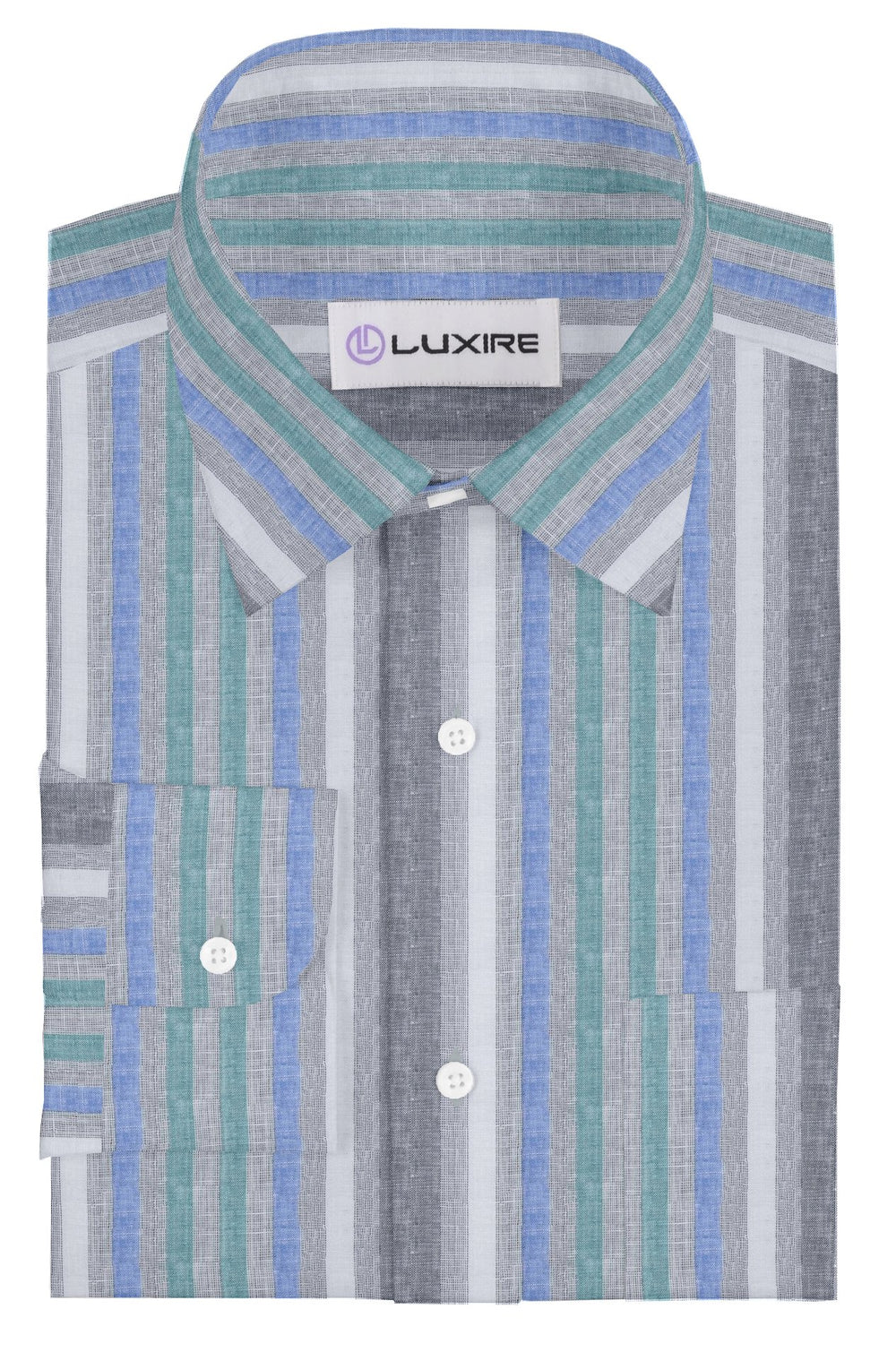 Linen: Green Blue White Tape Stripes On Grey Madras (260059513)