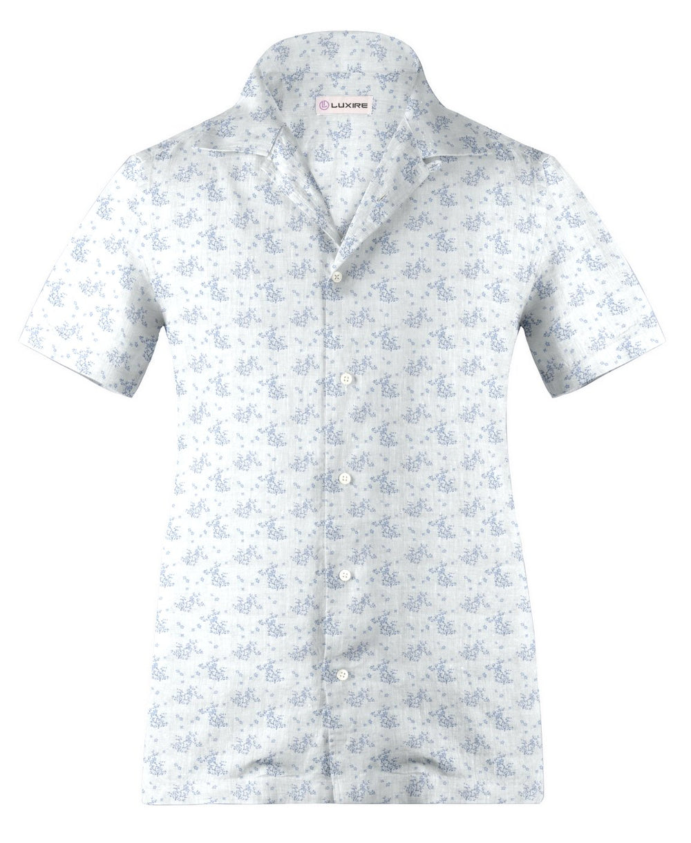 Camp collar PRESET STYLE in Linen: Pale Blue Printed shrubs On White (1646188658743)