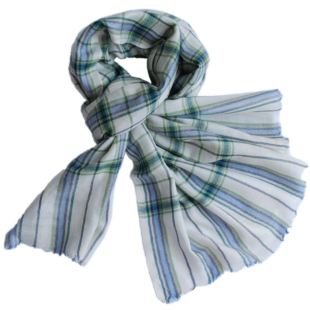 Pure Cashmere Scarf - Green Blue Cream Plaid
