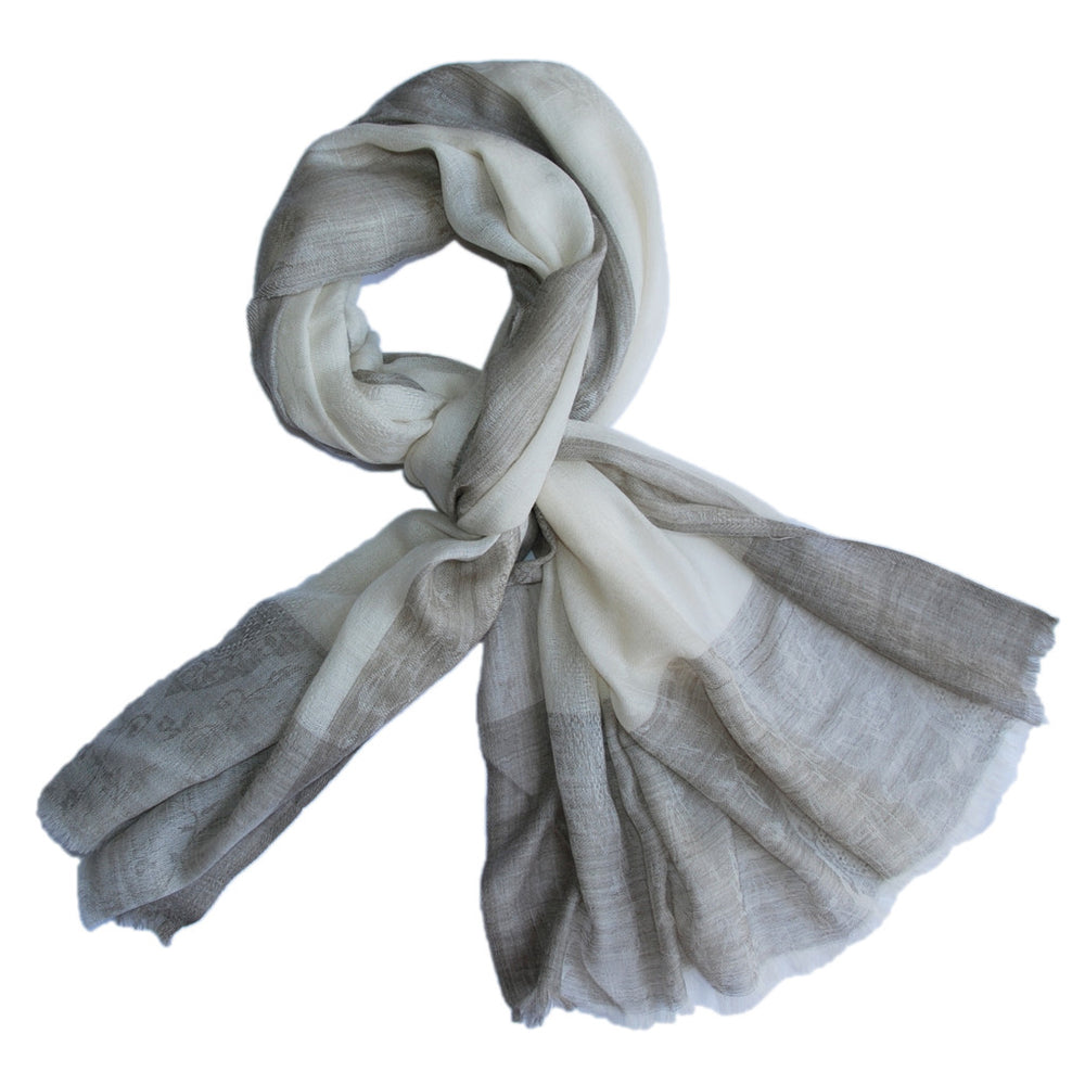 Pure Cashmere Scarf - Cream Light Umber