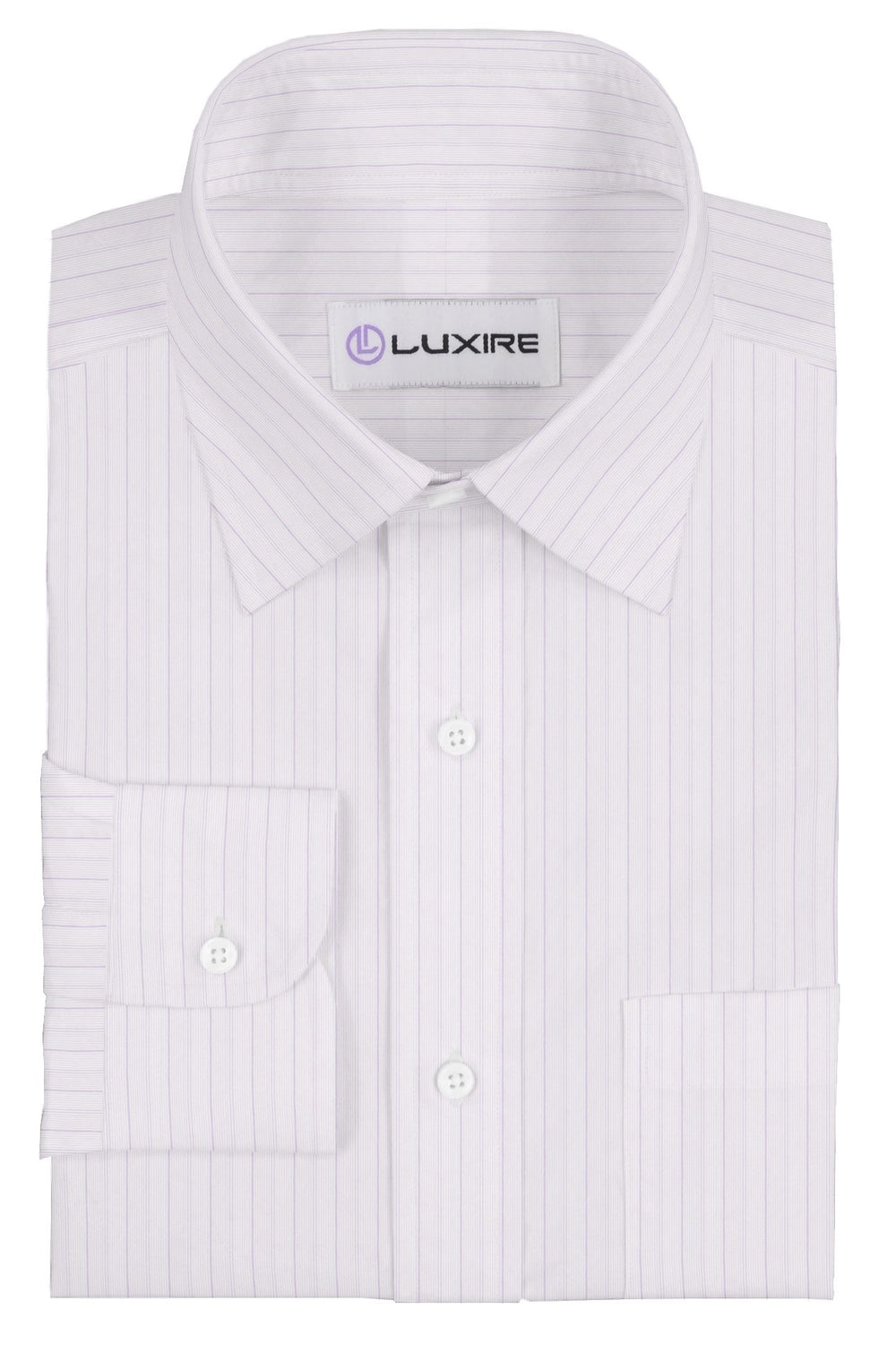 A Touch of Silk:Purple Pin Stripes on White: Natural Wrinkle Free (297231137)
