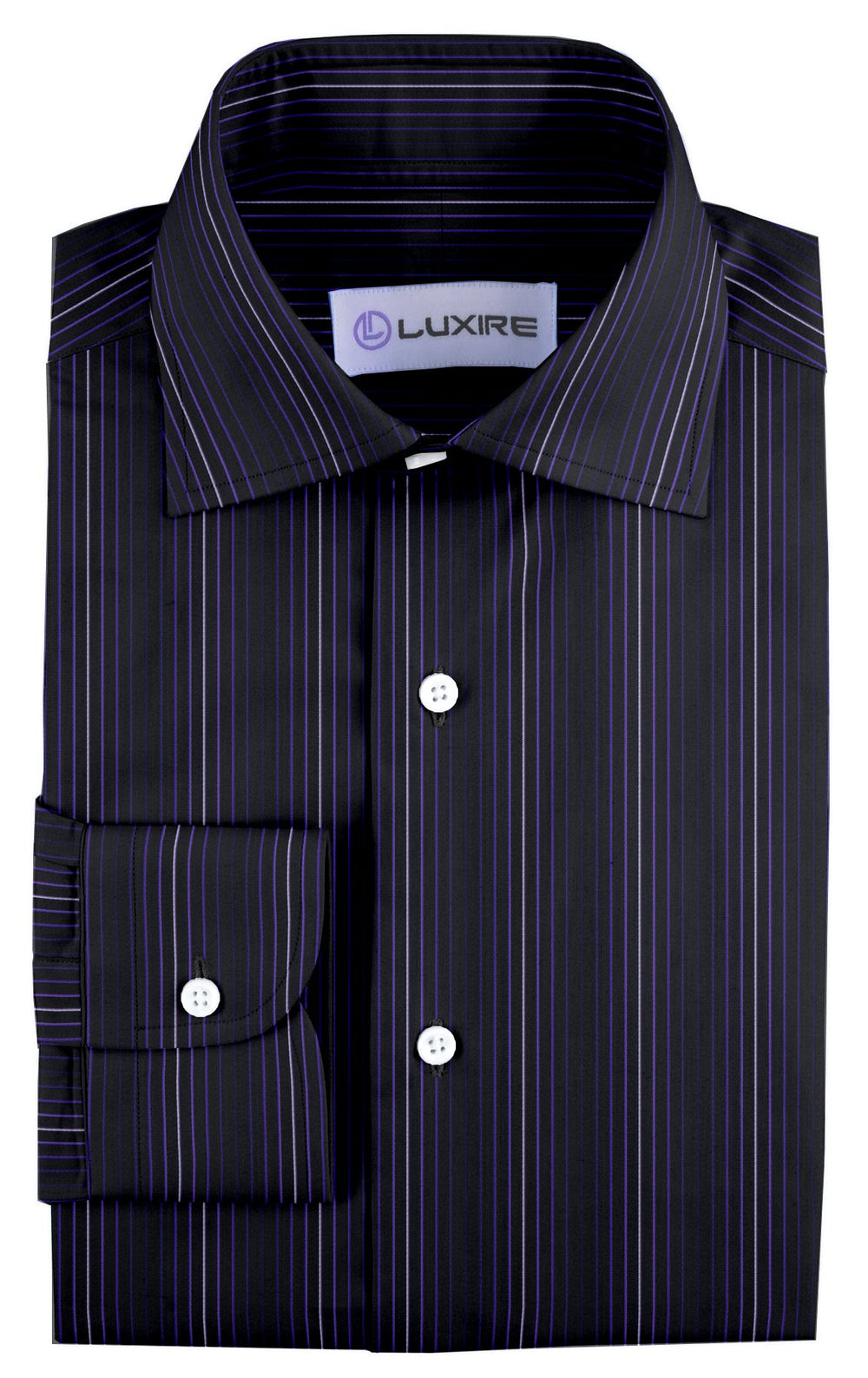 Evening Shirt:Purple Shawdow Stripes on Navy