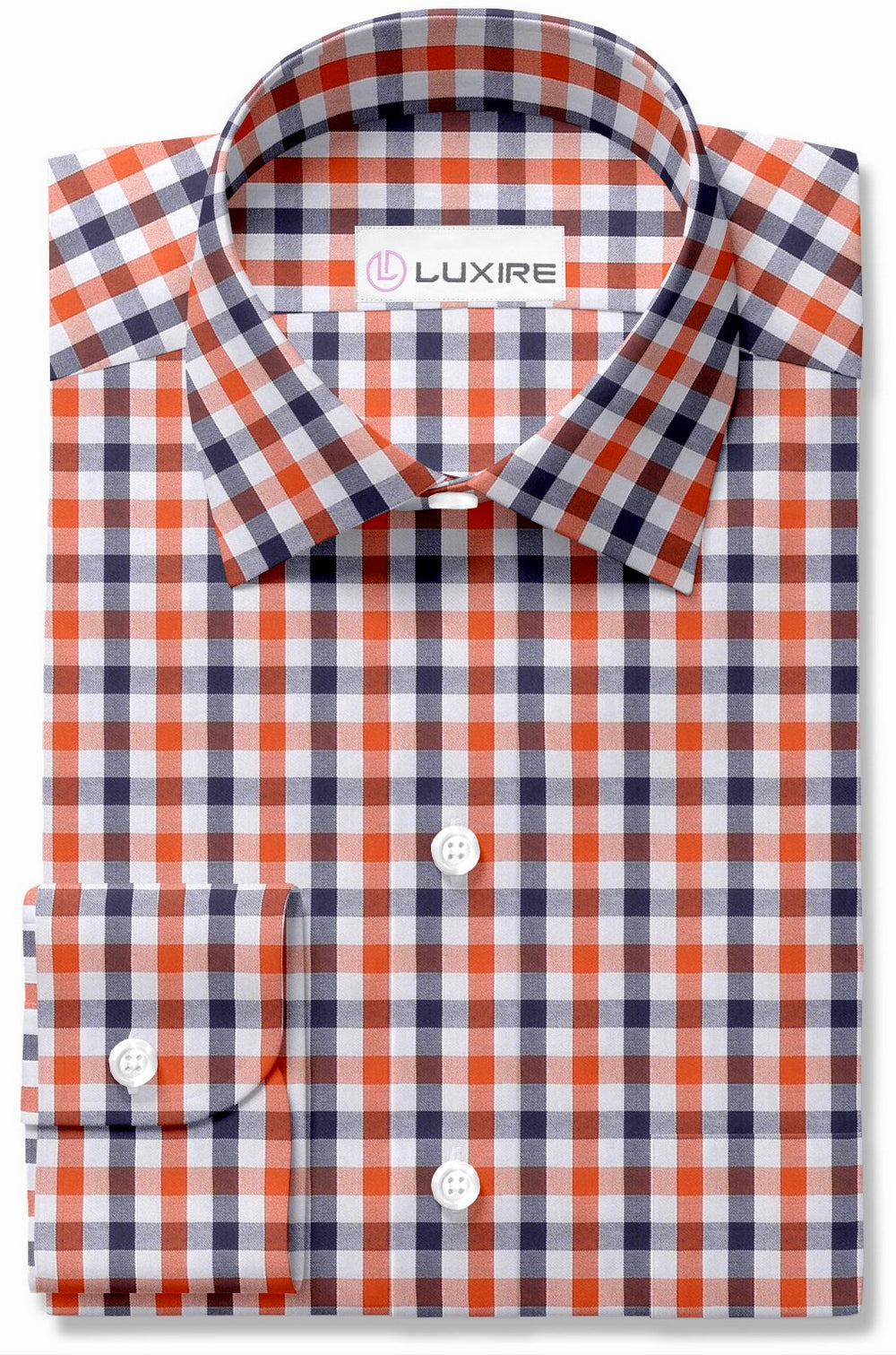 Orange White Navy Gingham