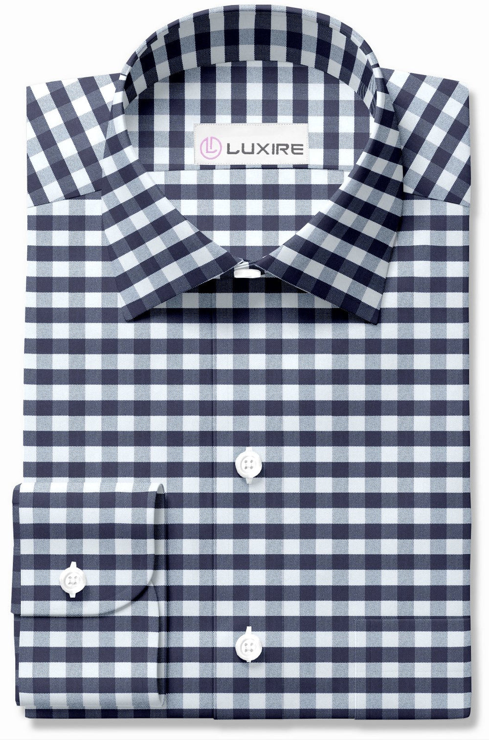 Navy White Gingham Classic Oxford