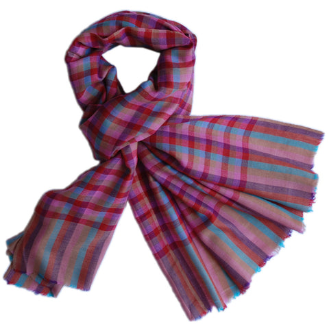 Pure Cashmere Scarf - Red Pink Blue Gingham