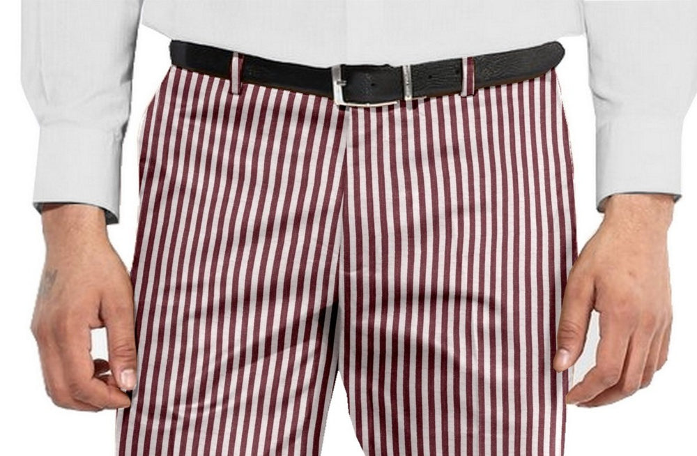 Shorts in Rose Red White Bengal Stripes Seersucker