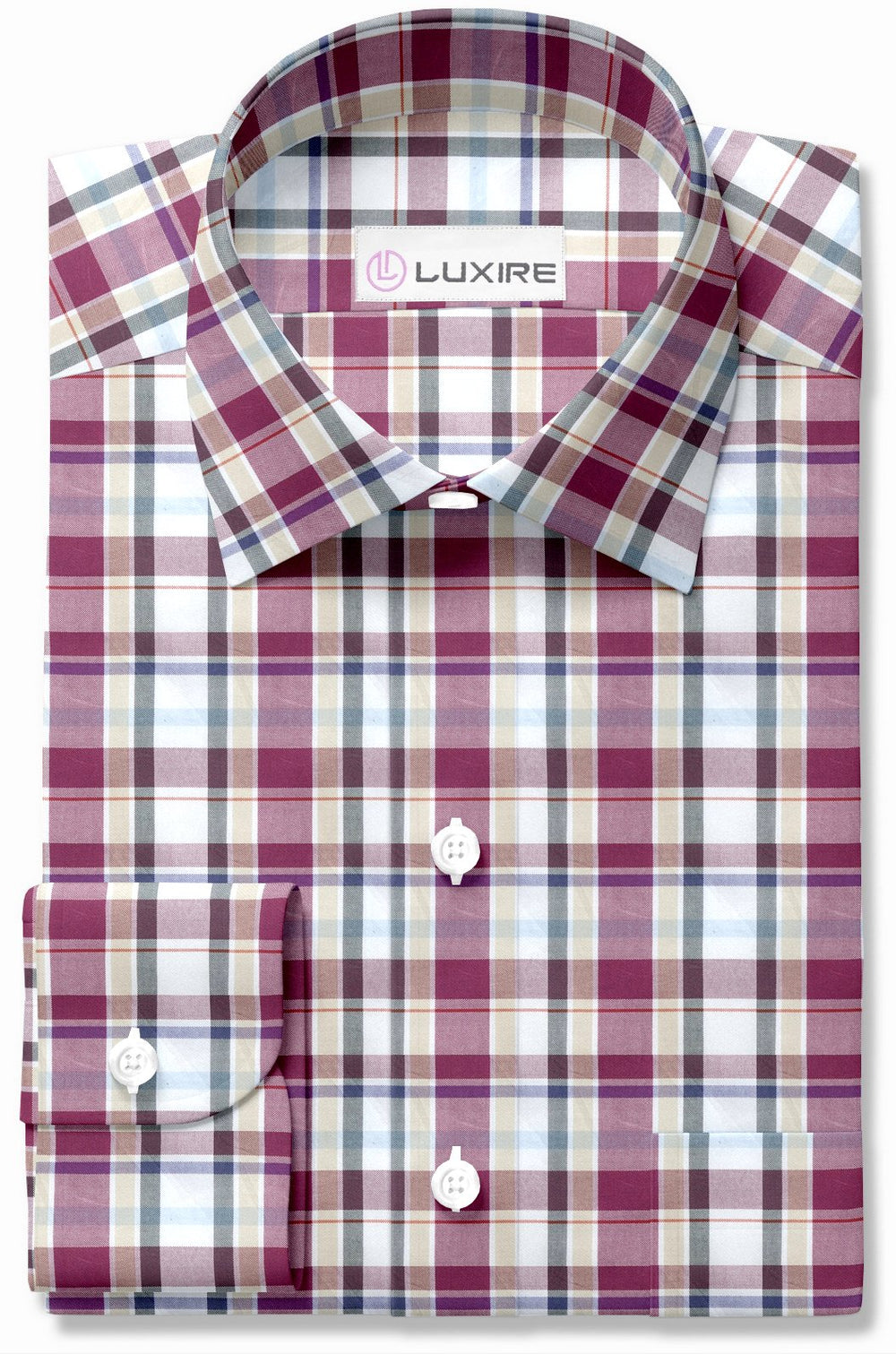 Easy-to-Iron Maroon White Ecru Oxford Checks (111604030)
