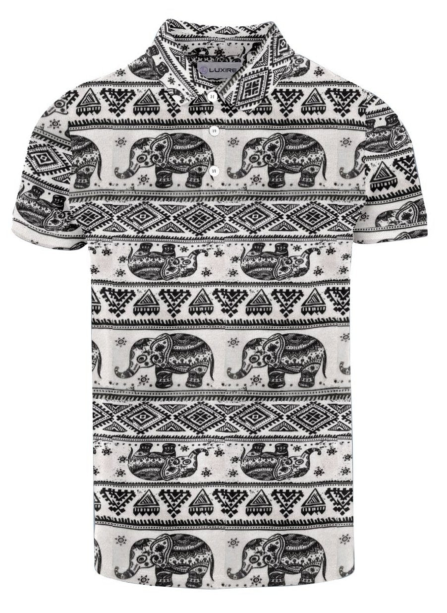 Black Elephant Geometric Print On Cream T-shirt