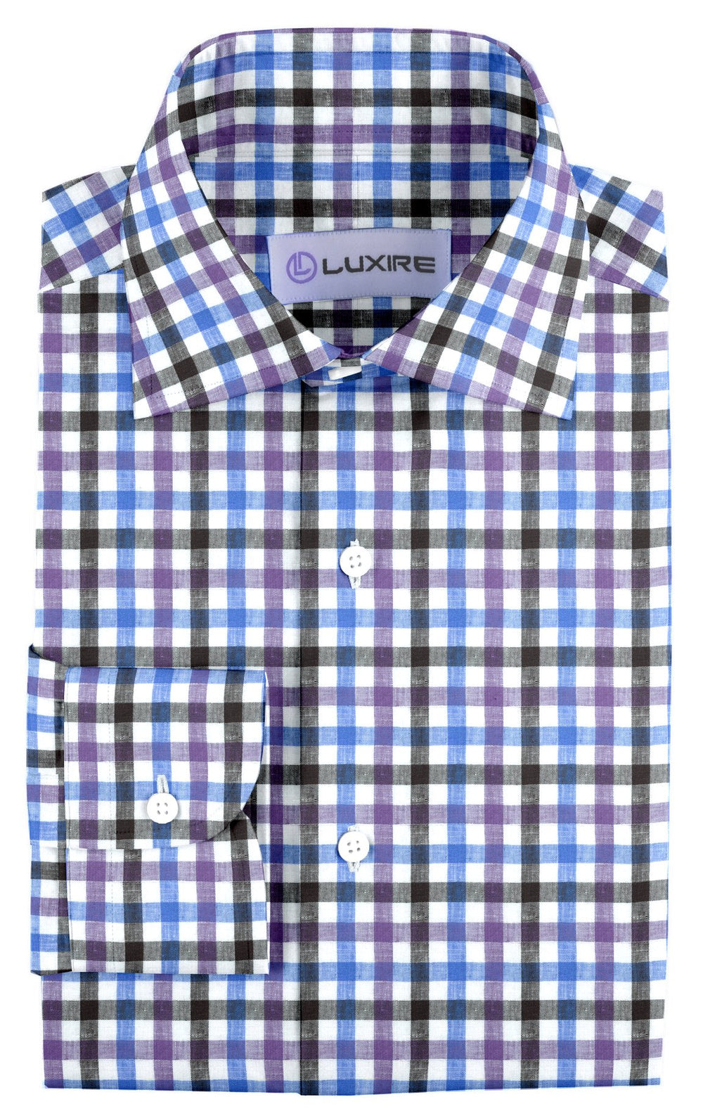 Purple Blue Black Gingham Linen (131313587)