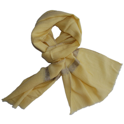 Pure Cashmere Scarf - Yellow Grey Embroidery