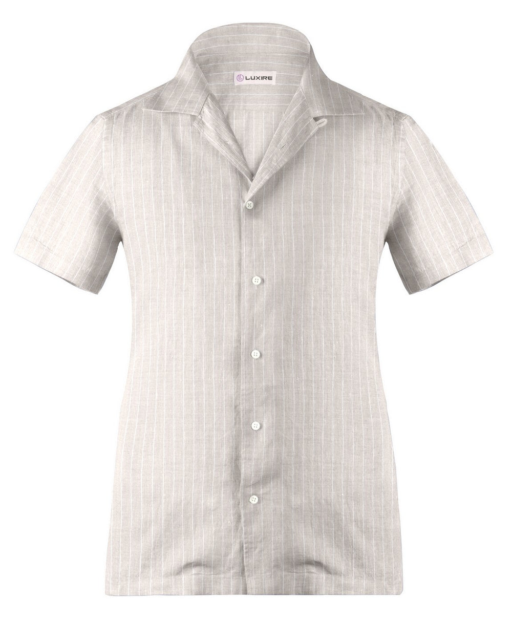 Camp collar PRESET STYLE in Lamb Beige Wide Pin Stripes Linen (1646198882359)
