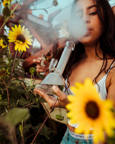 Girl with a white tank top and dark hair smoking a bong filled with cannabis with yellow sunflowers surrounding her