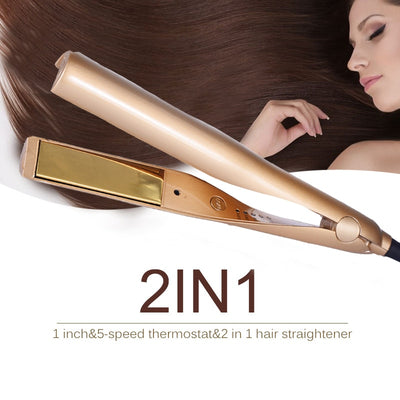2 in 1 Gold Curler and Straightener