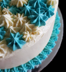 Sri Lankan Ribbon Cake with blue and white icing for a birthday party in West Pennant Hills, Sydney