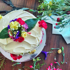 the hopper pan butter cake with pressed wildflower florals for a party in sydney, sri lankan cakes sydney