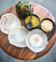 The Hopper Pan Sydney Sri Lankan food market pop up hoppers egg hopper with chicken curry dhal and pol sambol available for Sri Lankan cooking classes in Sydney and Sri Lankan Catering Sydney