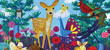 Eeboo puzzle with fawn and peacock - 100 piece puzzle