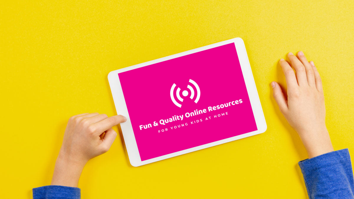bright yellow background, kids hands, tablet with pink and white screen