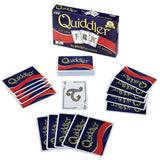 Quiddler game box with Quiddler cards displayed