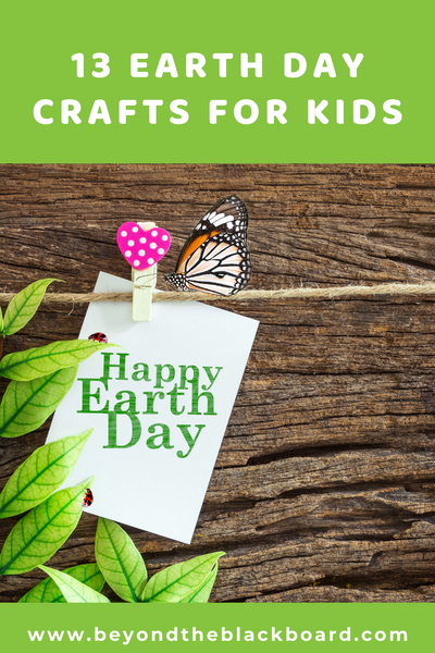 13 Earth Day Crafts for Kids, heart clothespin, butterfly, twine, wood background, Happy Earth Day card, green plant, ladybugs, www.beyondtheblackboard.com