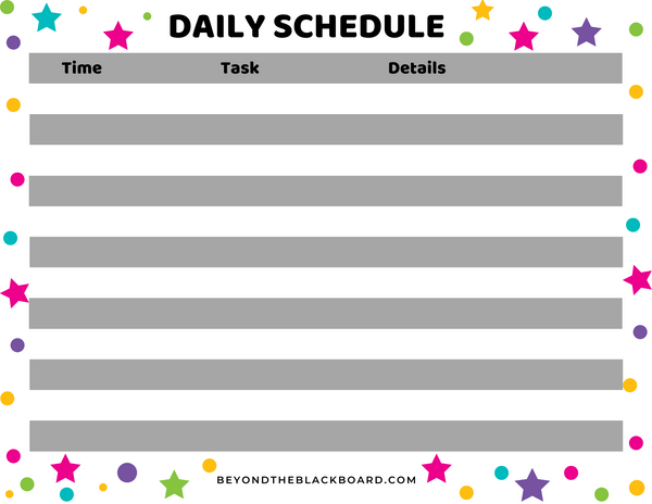 fillable remote learning daily schedule, beyondtheblackboard.com
