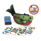 Happy Salmon card game pouch with action card examples, ASTRA best toy winner seal