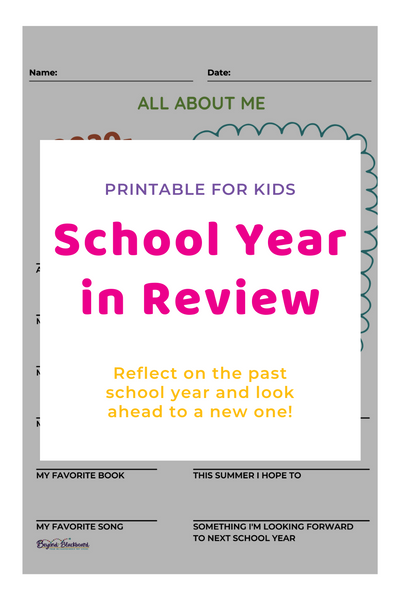 School Year in Review Printable for Kids