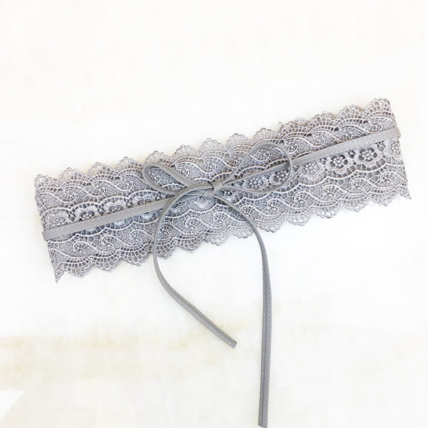 Black White Lace Wide Decor Belt Female Self Tie Waistband Belts for Women Wedding Dress Waist Band