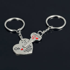 Couple Key Heart I Love You Pendant Key Chain
