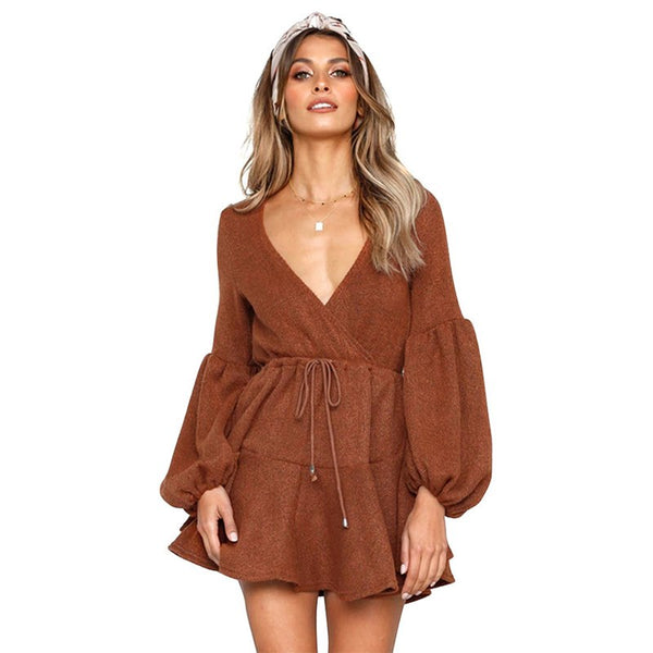 Winter Autumn Long Puff Sleeve Knitted Dresses Women Deep V-neck Off Shoulder Elastic Waist Lace Up Mini Sexy Dress