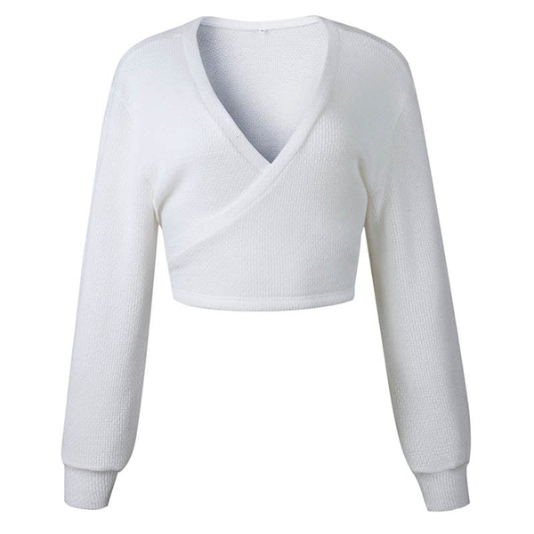 Winter Casual Women Off Shoulder V Neck White Sweaters Back Bow Long Sleeve Knit Pullovers Crop Sexy Knitted Sweater