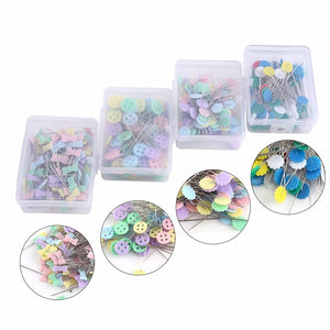 100Pcs/lot Sewing Accessories Patchwork Flower/Bow tie/Button Pins Sewing Pin With Box DIY Sewing Patchwork Pins Arts Crafts